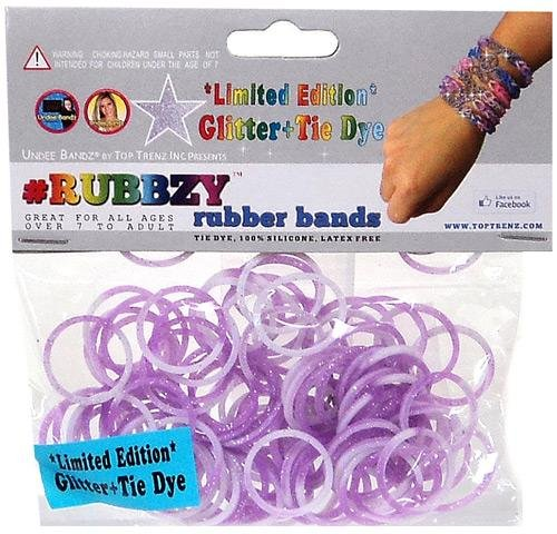 Undee Bandz Rubbzy 100 GLITTER PURPLE & WHITE Tie-Dye Rubber Bands with Clips [D]