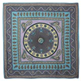 Dahlia Women's Satin Square Silk Scarf - Dome Paisley Art Purple and Blue