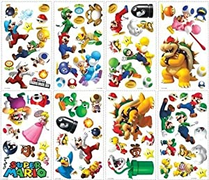 Huge Set 70 Nintendo Super Mario Wii Peel and Stick Wall Decals from Roommates