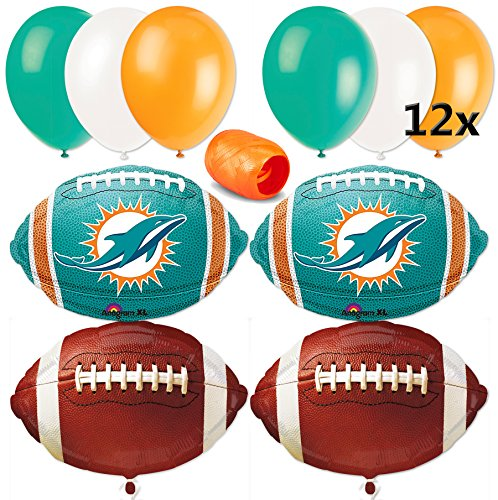 Miami Dolphins NFL Super Bowl Football Balloon Decorating Party Pack 17pc