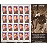 James Cagney: Legends of Hollywood, Full Sheet of 20 x 33-Cent Postage Stamps, USA 1999, Scott 3329