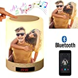 Custom Photo Bluetooth Speakers Touch Control Bedside Lamp Table Lamp Color LED Camping Party Night Light Music Player - Full Color Printing (Color: Full Color Printing, Tamaño: 3.5inch*3.5inch*4.7inch)