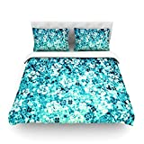 "Kess InHouse Ebi Emporium ""Flower Power in Blue"" Teal Aqua King Cotton Duvet Cover, 104 by 88-Inch"