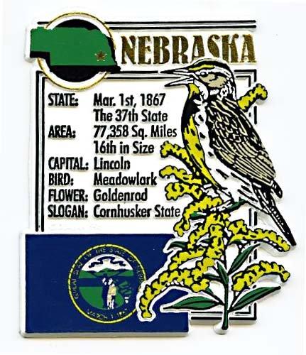 Nebraska the Cornhusker State Montage Fridge Magnet