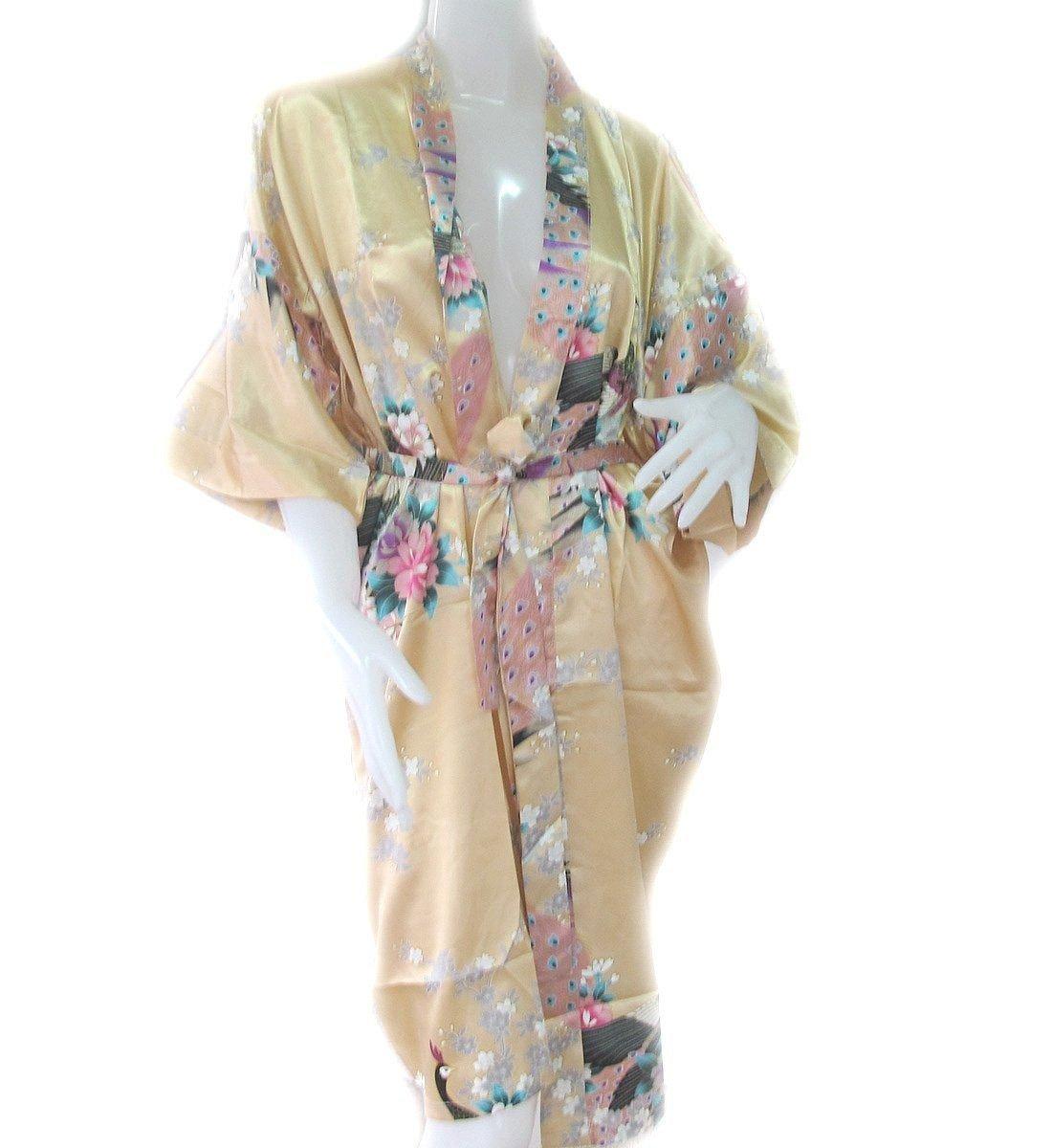 Thai Vintage Women's Gold Kimono Silk Satin Bath Wrap Robe Peacock Design 0