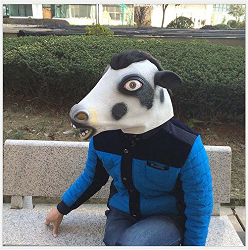 [Skue Latex Cute Cow Mask Halloween Animal Costume Party] (Cow Hooves Costume)
