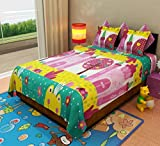 Home Candy Kids Cotton Double Bedsheet with 2 Pillow Covers - Multicolor