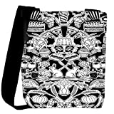 Snoogg black and white feast Womens Carry Around Cross Body Tote Handbag Sling Bags