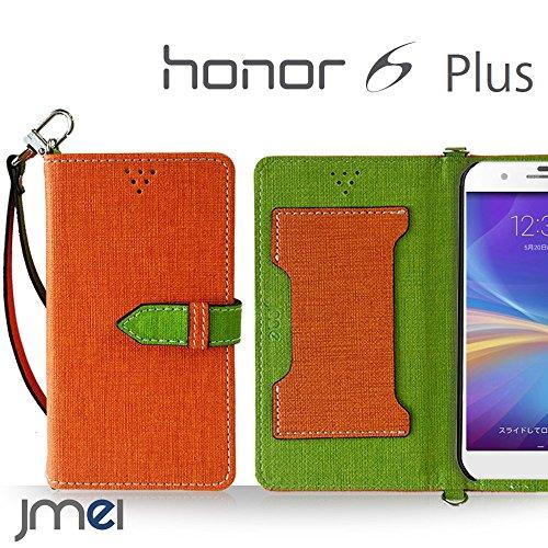 honor6 Plus ケース JMEIオリジナルカルネケース VESTA オレンジ 楽天モバイル simフリー オナー 6 プラス スマホ カバー スマホケース 手帳型 ストラップ付き ショルダー スマートフォン