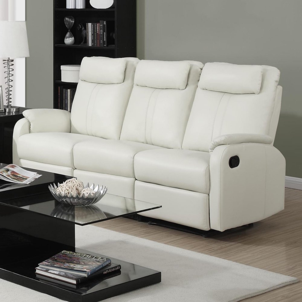 Monarch Specialties Reclining Sofa Ivory Bonded Leather
