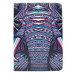 iPad Air 2 Case,Veggzy® [360 Degree Protection] Cute Elephant Design Slim Folio PU Leather Stand Case with Card Slots,Pocket for iPad Air 2(iPad 6th Generation),Flip Non Slip Wallet Protective Case
