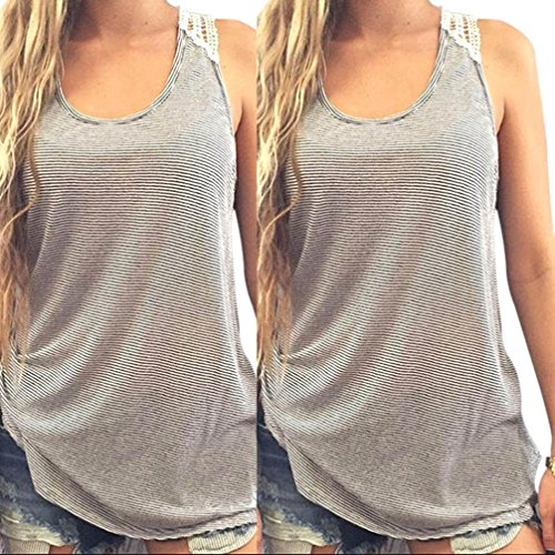 SMTSMT Mujeres Summer Lace Vest Top Blusa Casual Tops manga corta camiseta (ASIA XL)