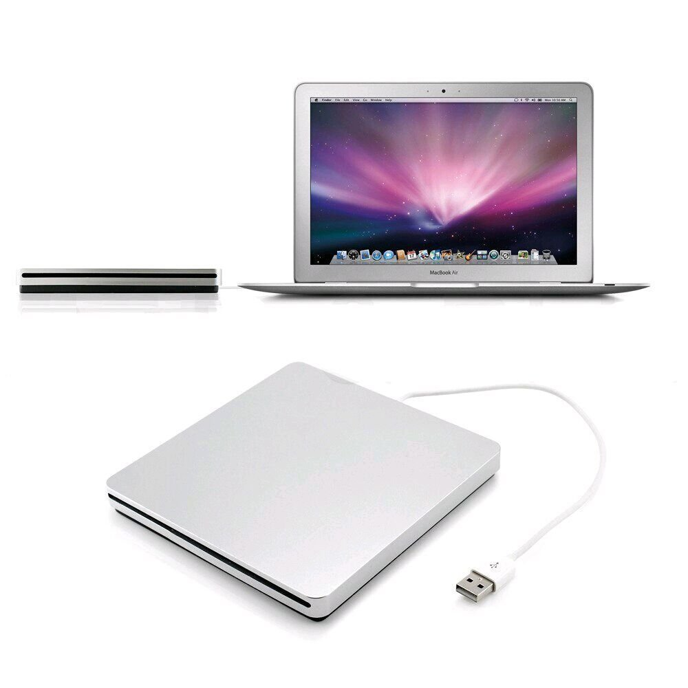 ZhiZhu® External Slot-in USB CD-RW DVD-R Player (CD Writer But Not DVD Writer) for Apple MacBook Pro Air iMAC Windows 10 8.1 and other Laptop Tablet