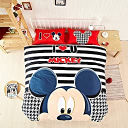 CASA Children 100% Cotton Mickey Series Mickey Duvet cover & Pillow cases & Sheet,Duvet cover set,3 Pieces,Twin