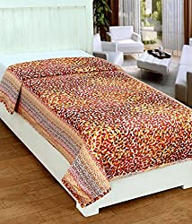 Super India Reversible Cotton Dohar/Duvet/Quilt/Rajai Cover with Zipper Closure - Single Bed