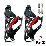 Wiel Full Carbon Fiber Bicycle Bike Light Drink Water Bottle Cage Holder (2Pcs Black) (Color: 2Pcs Black Red)