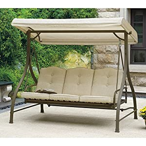 Amazon Com Mainstays 3 Seat Porch Amp Patio Swing Tan
