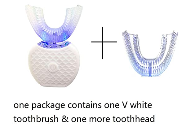 Electric Auto Toothbrush Rechargeable Ultra Sonic Smart Toothbrush V-WHITE 360° Automatic Toothbrush U Type Heads Oral Cleaner With One More U Type Toothbrush Head (white 1) (Color: white 1)
