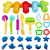 BESTZY Play Dough Tools Kit - 28 Pcs Clay Extruder Dough Roller Plasticine Cutter Tool Modeling Mold Kit, Random Colors