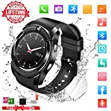 Smart Watch,Bluetooth Smartwatch Touch Screen Wrist Watch with Camera/SIM Card Slot,Waterproof Phone Smart Watch Sports Fitness Tracker Pedometer for Android iPhone IOS Huawei Sony for Women Men Kids (Color: V8-Black)