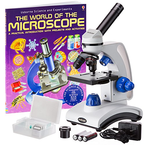 AmScope-M162C-2L-PB10-WM-40X-1000X-Dual-Light-Glass-Lens-All-Metal-Frame-Student-Microscope-with-Slides-and-Book