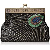 MG Collection Nisha Beaded Sequin Clutch