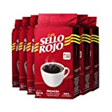 Sello Rojo Colombian Coffee | Best Selling Brand in Colombia | 8.8 Oz Supremo Ground Coffee Bricks | Medium Roast | Cafe de Colombia | Kosher | Pack of 6 (Color: 6-brick-red, Tamaño: 6-Pack)