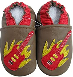Carozoo baby boys soft sole leather infant toddler kids shoes Guitar Brown 6-7y