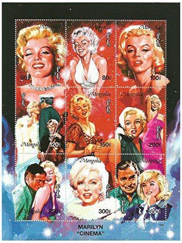 Marilyn-Monroe-Cinema-9-Stamp-Sheet-Mongolia-1995-Scott-2222-26