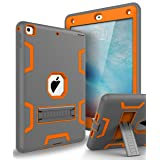 The New iPad 2017,iPad 9.7 Case,Topsky Three Layer Armor Defender Full Body Protective Case Cover For Apple iPad 9.7 (2017 Release),Grey/Orange