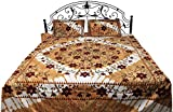 Exotic India Honey-Yellow Batik Bedspread from Pilkhuwa with Printed Flowers - Pure Cotton with Pill