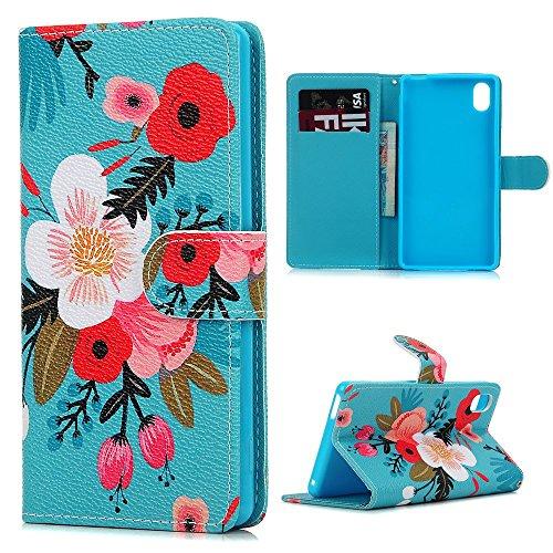 Sony Xperia M4 Aqua Funda Libro de PU Leather Cuero - Mavis's Diary Funda para móvil Carcasa Con Flip case cover,Cierre Magnético,Función de Soporte,Billetera con Tapa para Tarjetas-Diseño de flores de colores