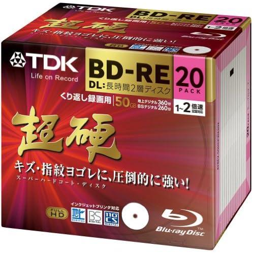 【Amazon.co.jp限定】TDK 録画用ブルーレイディスク 超硬シリーズ BD-RE DL(長時間2層ディスク) 50GB 1-2倍速 ホワイトワイドプリンタブル 20枚パック 5mmスリムケース ATBEV-50HCPWA20Z