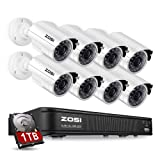 ZOSI 8-Channel HD-TVI 1080P Lite Video Security Camera System,Surveillance DVR and (8) 1.0MP 1280TVL Indoor/Outdoor Weatherproof Bullet Cameras with 65ft(20m) IR Night Vision LEDs- 1TB HDD Built-In (Color: 8CH+8Cameras+1TB)