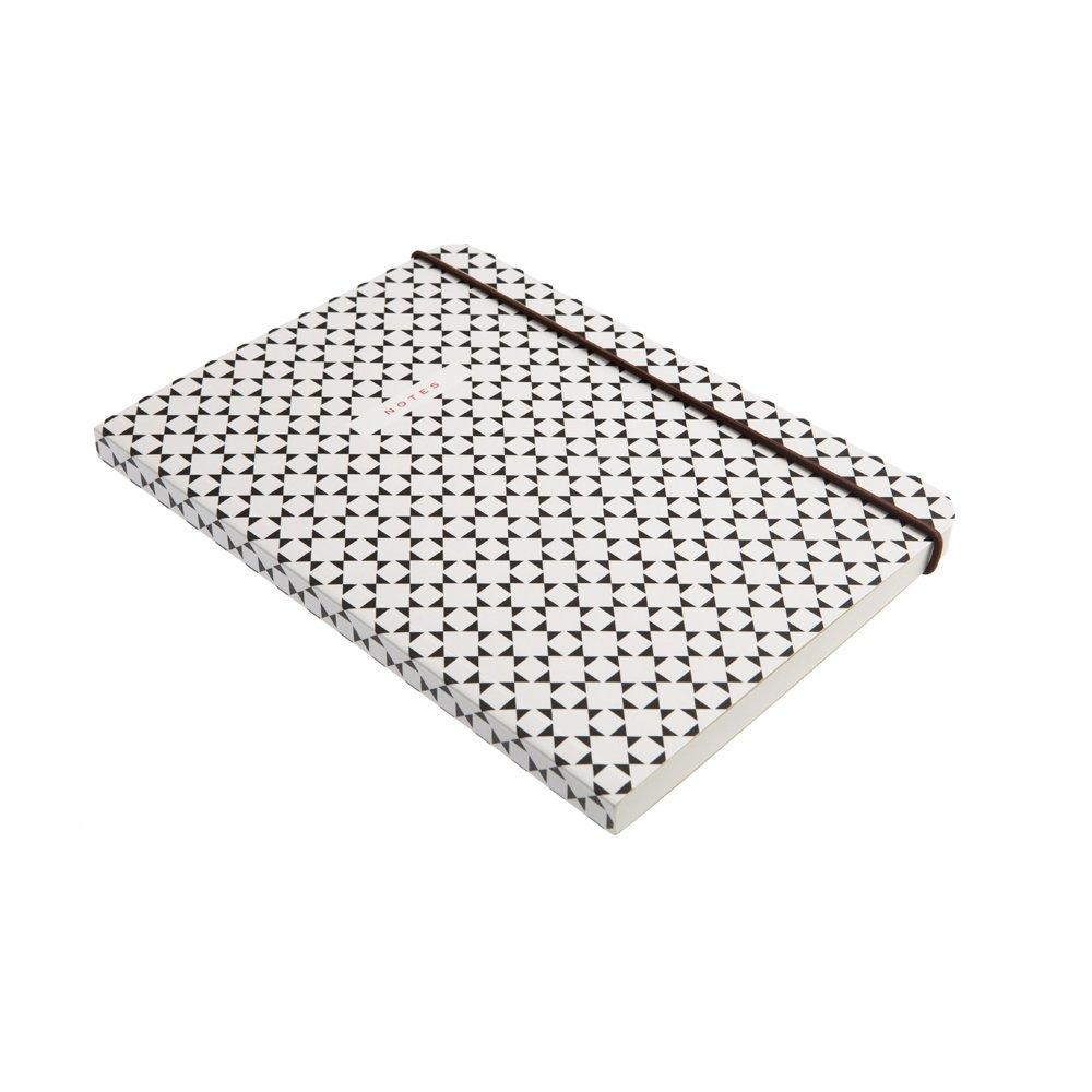Caroline Gardner Geometric Design Print Elastic Closure Mid Notebook