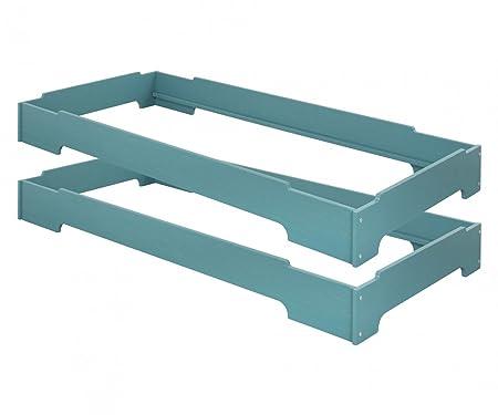 Risparmio set: 2 Stack letti Kai 90x200. Pineta biologico con finitura blu. 2 posti letto