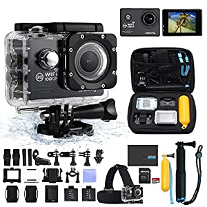 LetsFunny 2.0 Inch 1080P HD Waterproof Action Camera with 2 Batteries Along with 17 Abundant Free Accessories