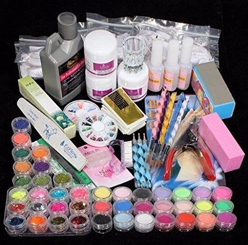 tefamore-42-acrylic-nail-art-tips-powder-liquid-brush-glitter-clipper-primer-file-set-kit