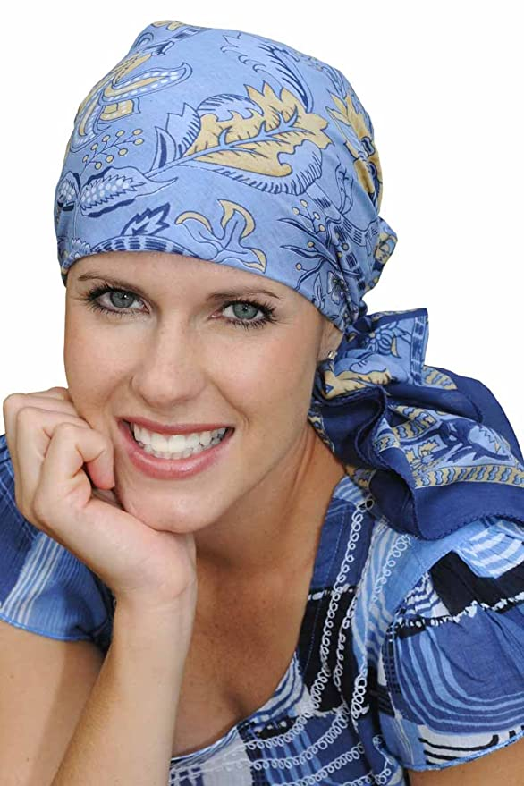 Oversized Cotton Woodblock Head Scarves for Chemo Patients - Tahiti Florals - Teal