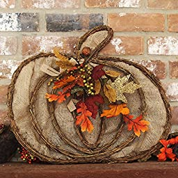 Burlap and Twig Fall Pumpkin Wreath