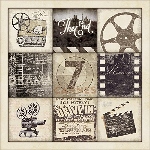 Movie Night! Classic Cinema Film Old-Fashioned Movie Collage; One 12X12 Poster Prints (Vintage Film Reel compare prices)