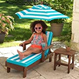 KidKraft Chaise Lounger with Umbrella & Side Table Kids Garden Chair Outdoor