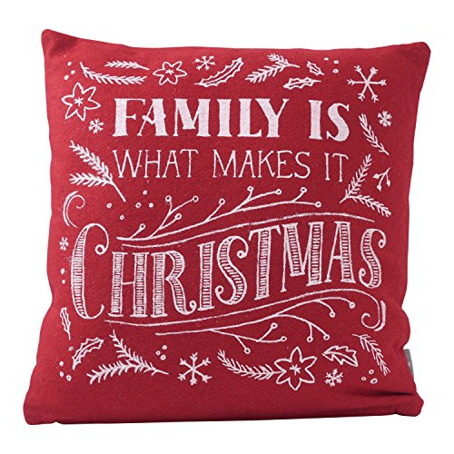 Hallmark Home Decorative Throw Pillow with Insert (14x14 inch), Holiday Red