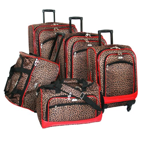 american-flyer-luggage-animal-print-5-piece-spinner-set-leopard-red-one-size