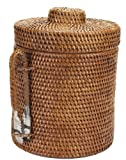 Napa Home & Garden 8-Inch by 7-1/2-Inch Thermal-Lined Round Rattan Ice Box with Lid and Handled Tongs, Brown
