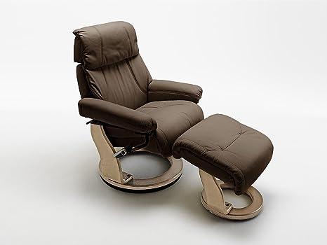 Fernsehsessel, Relaxsessel, TV-Sessel braun, Leder + Holz, mit Hocker, 130 kg