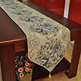 Hiendure Classic Embroidery European Style Tassel Dining Table Runners Sequined Lace Hotel Bed Coffee Table Runners 11inch*98.4inch, Blue