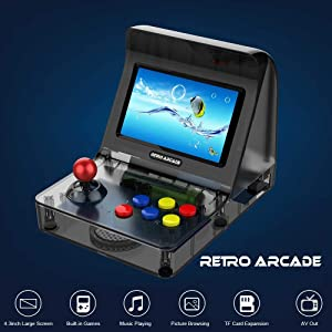 NWSAC Retro Game Console 4.3 Screen Arcade Gaming Machine with 3000 Classic Games Support TF Card Gamepads Control Wired Controller Joystick Children's Birthday (Color : Blue) (Color: Blue)