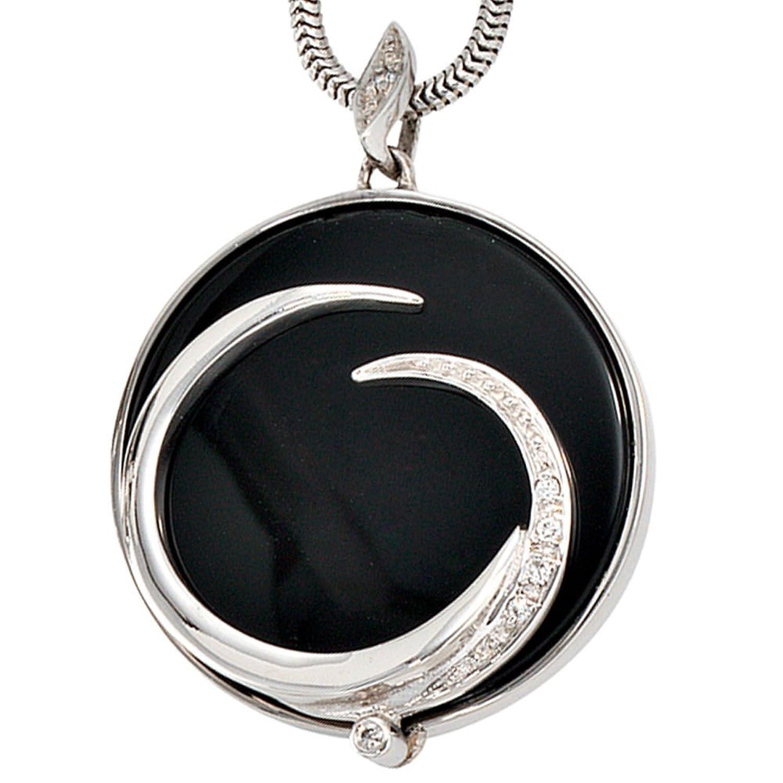 Damen Gold Anhänger 585 Gold Weißgold 6 Diamanten Brillanten 1 Onyx online bestellen
