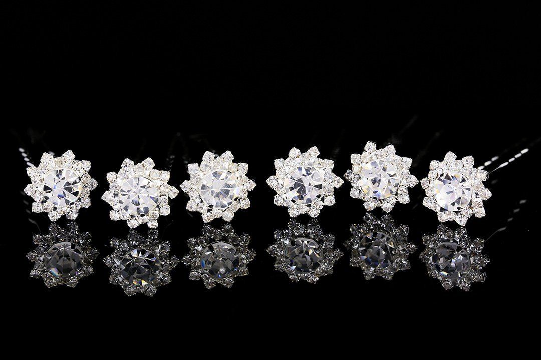 Set of 6 Sunflower Flower Blossom Crystal Hair Pins H099 mymei silver personality gem crystal wedding bridal princess jewelry crown hair jewelry accessories clip hair pins